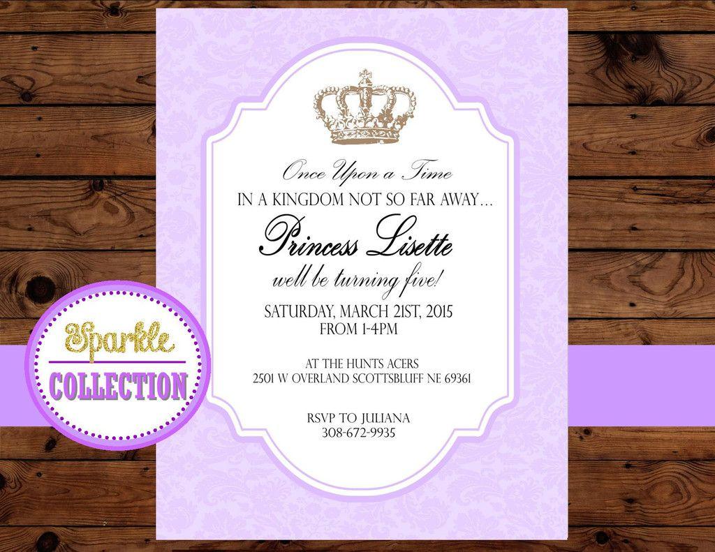 baby shower invitation princess invitation purple