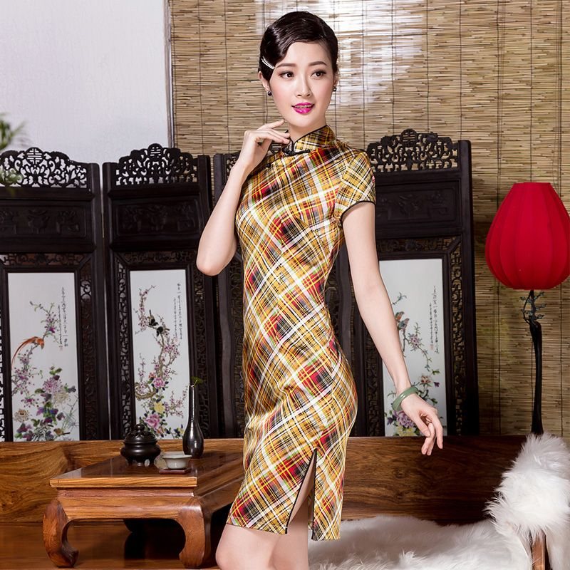 Cheongsam bamboo print dress            https://www.ichinesedress.com/