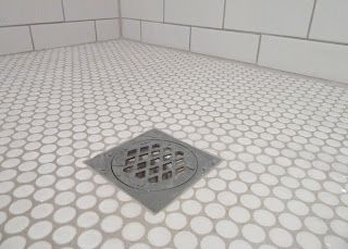 White Penny Tiles Grey Grout And Subway Tiles Penny Tiles