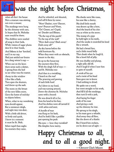 picture relating to Twas the Night Before Christmas Poem Printable named Twas The Night time In advance of Xmas Crafts: Xmas