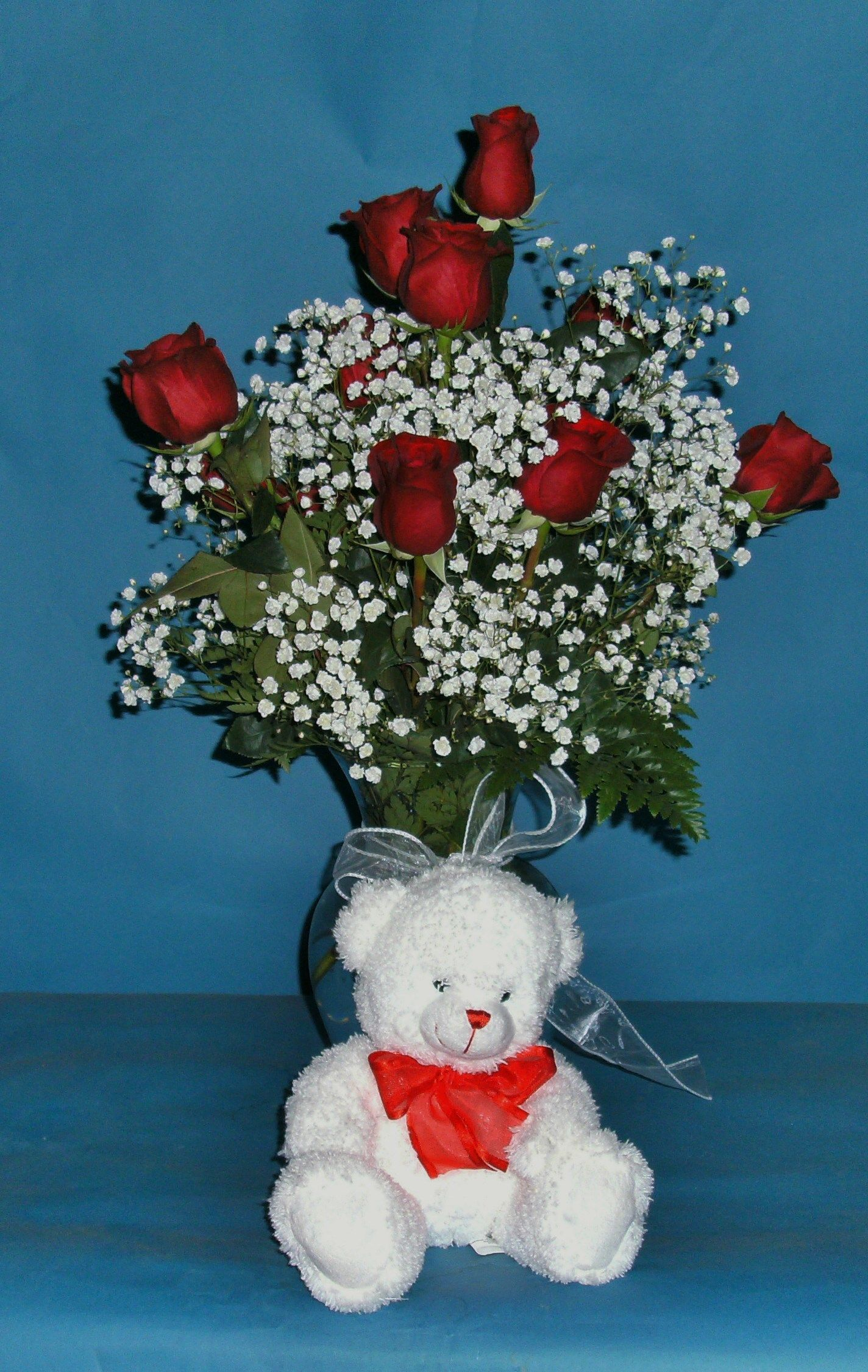 ROSES WITH A CUDDLY TEDDY BEAR FOR YOUR SWEETHEART ON VALENTINE'S DAY!!!