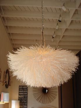 Extra Large White Sea Urchin Light Fixture Constructed Of Raw Rattan Slivers When Lit Chandelier Illuminates From Within With A Serene All Over Glow