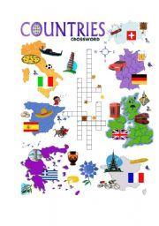 English worksheet: COUNTRIES CROSSWORD | Coisas para usar ...