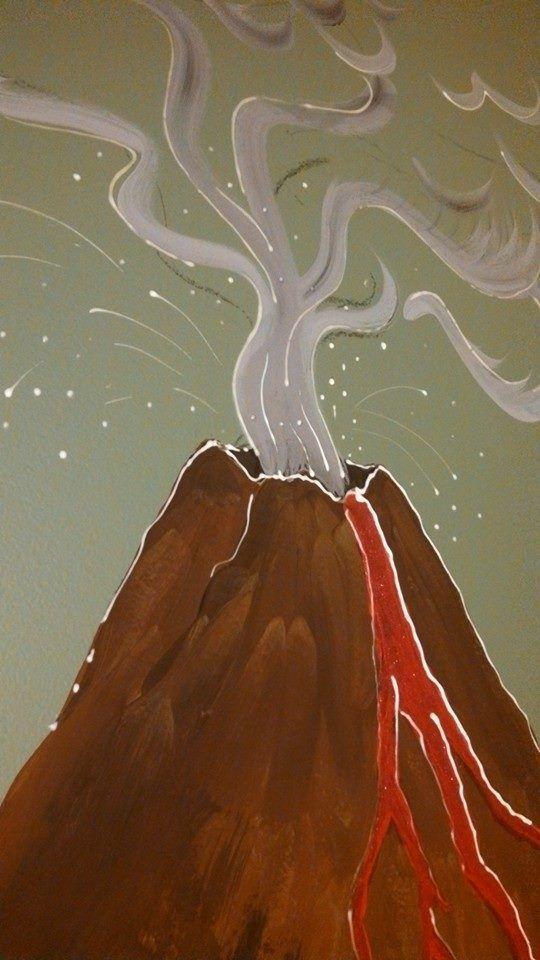 Dinosaur Kid S Room Volcano Glow Paint Detail Cathryn