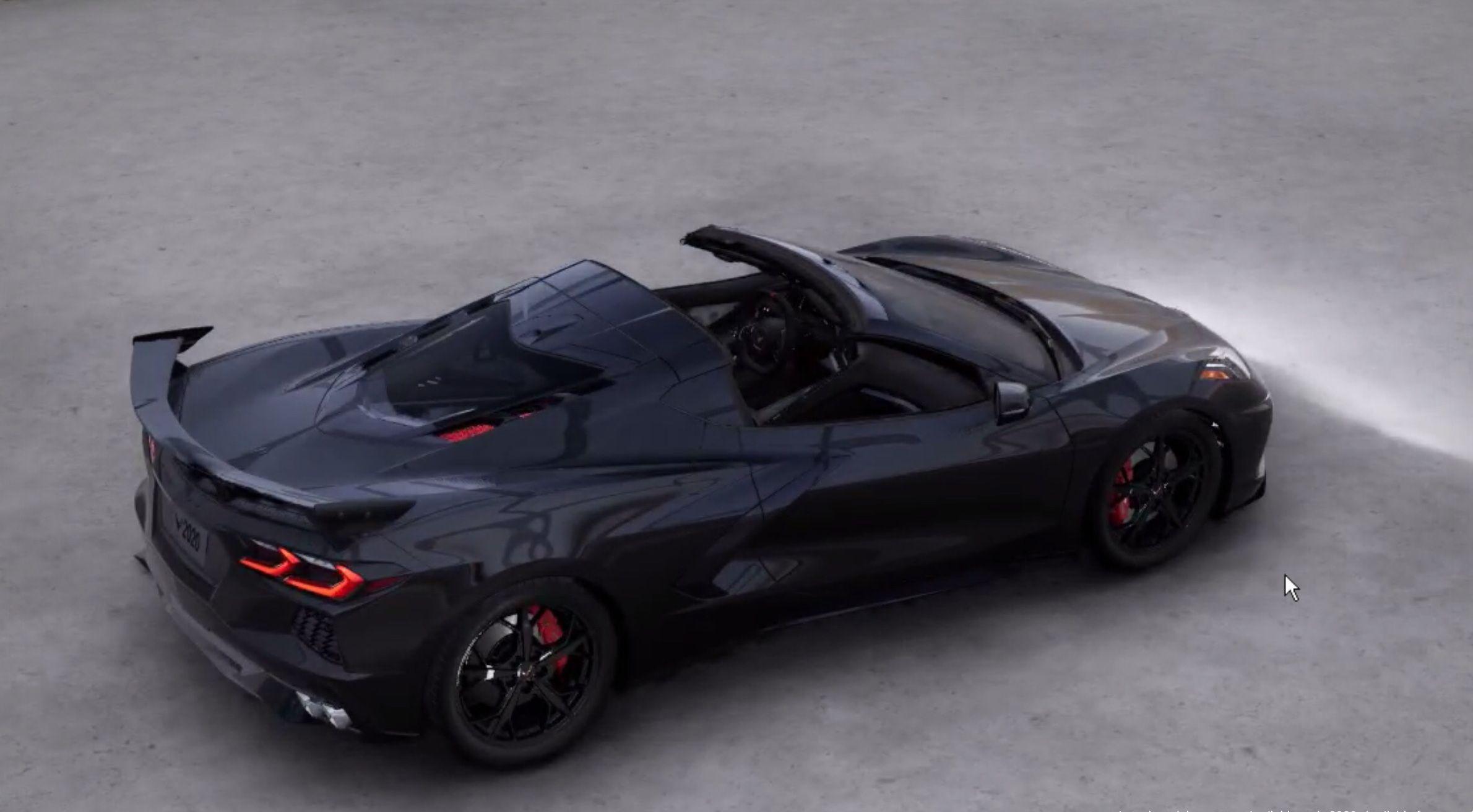 C8 Corvette Black On Black Top View Corvette Corvette Stingray Sport Cars