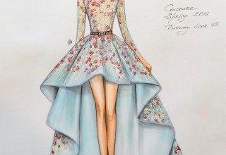 Sketch of dress of fashion designer 4