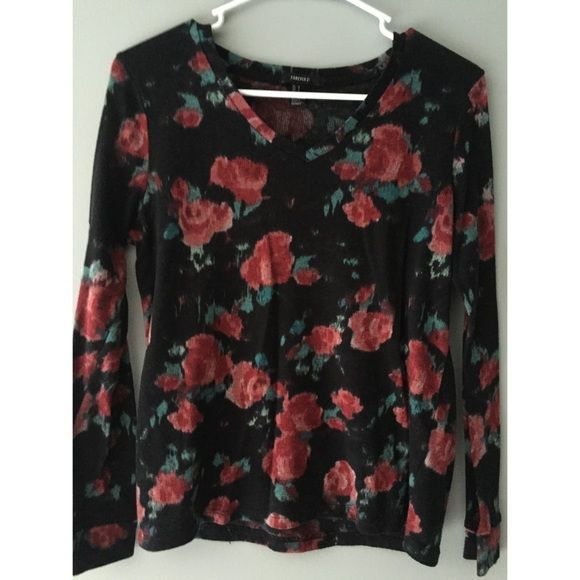 Forever 21 floral long sleeved shirt Cute floral shirt!! Only worn once Forever 21 Tops