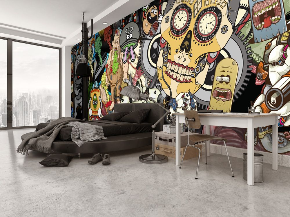 Bachelor Pad Cool Bedroom Idea With Sugar Skull Wall Mural.