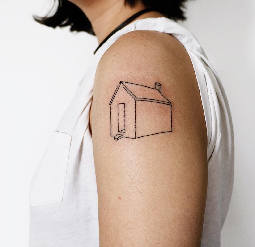 Handpoked prototypical house tattoo️ by Kelli Kikcio