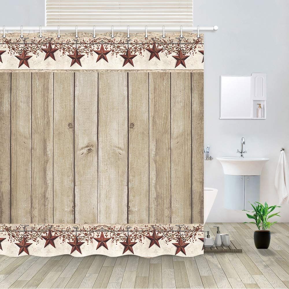 Rusitc Wood Boards Shower Curtain Western Texas Star And