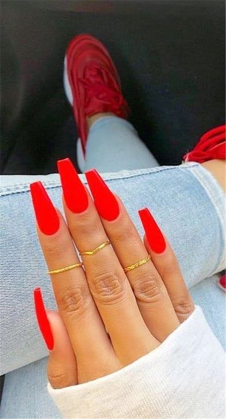 45 Hottest Red Long Acrylic Coffin Nails Designs You Need To Know Page 8 Of 45 Cute Hostess For Modern Women In 2020 Red Acrylic Nails Coffin Nails Designs Red Nail Designs