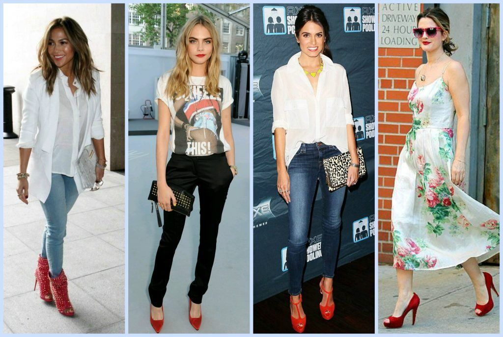 30 Outfits to Wear with Red Shoes