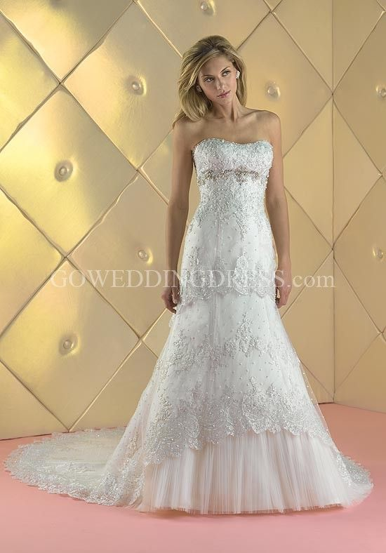 Mermaid Scoop Floor Length Attached Lace/ Tulle Beading Wedding Dress Style 15413
