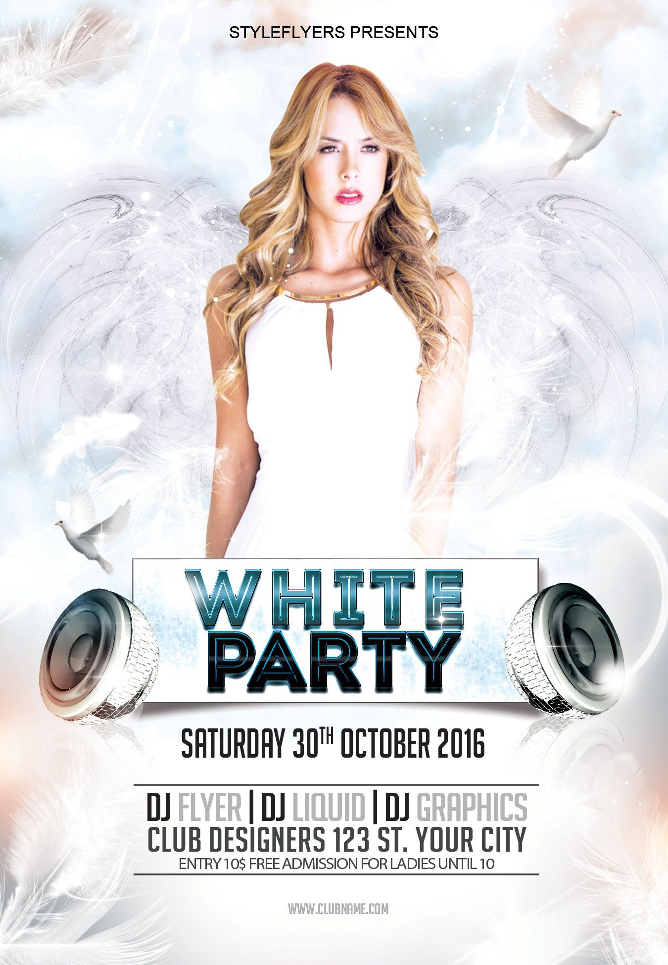 Free White Party Flyer PSD Template by styleflyer.com is the best ...