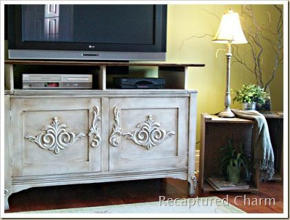 old chest repurposed to an entertainment unit, painted furniture, Old solid wood chest found at the curb had the front doors nailed shut and a removable top Now it sits proudly as a beautiful entertainment unit