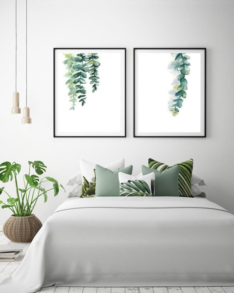 Photo of Eucalyptus minimale grønne blader Sett med 2 kunsttrykk, grønne botaniske moderne akvarellveggavtrykk, Eco Botanisk veggdekor