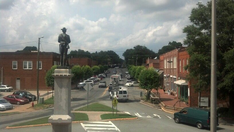 View from balcony of colonial courthouse of historic downtown Pittsboro, NC.