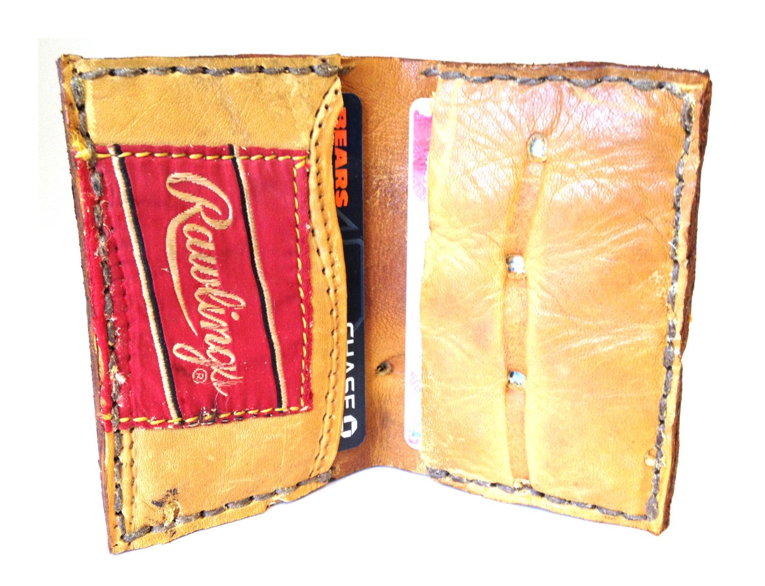 Recycled baseball glove wallet - Baseball Glove Wallet Leather Bifold Wallet Made By Bellandharry