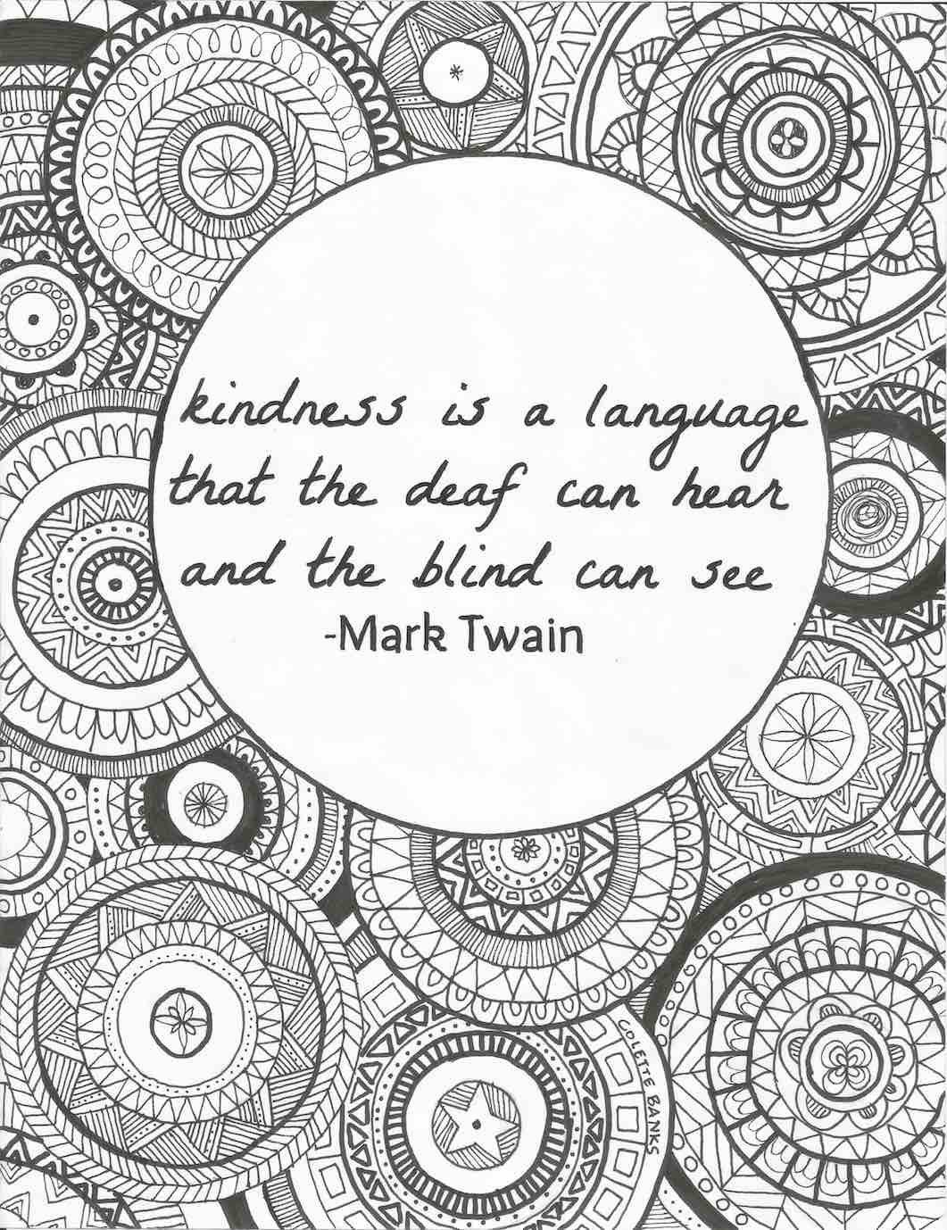 Coloring pages kindness - Quote Adult Coloring Page Kindness By Mark Twain By Essenceofink