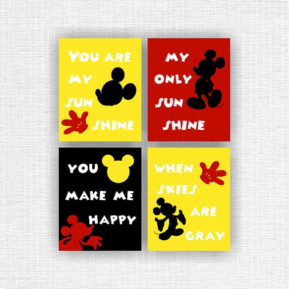 Mickey Mouse Room Decor Art, You are my sunshine, Disney Wall Art ...