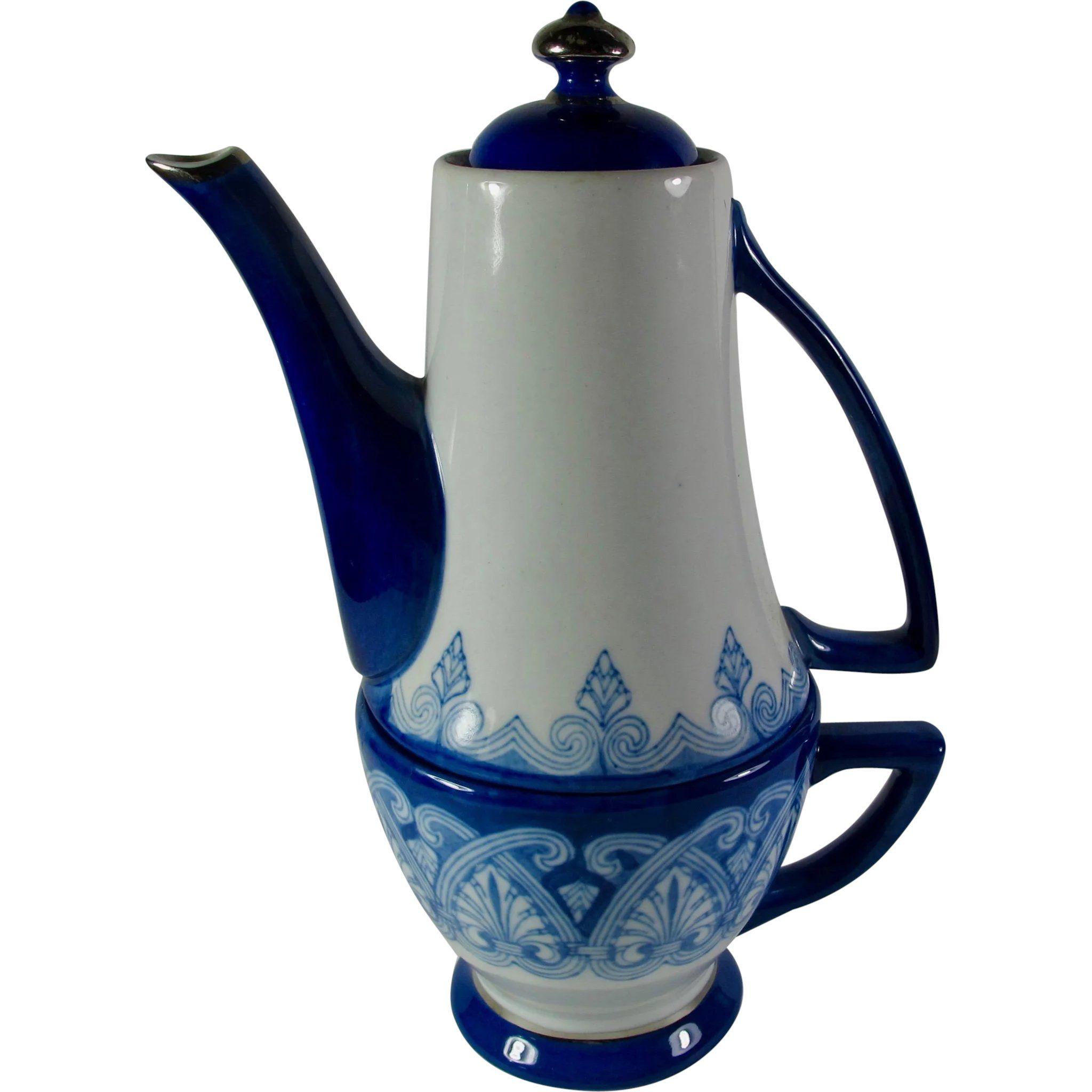 Blue White Bombay Porcelain Teapot With Cup Tea Pots White