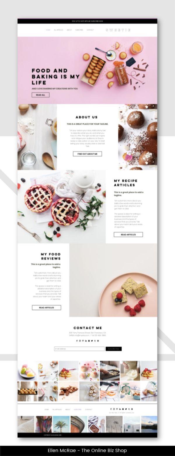 Sweetie Food And Recipe Blog Website Template Wix Wixwebsite Wixwebsitet Wix Website The Eas Blog Website Design Food Web Design Food Website Design