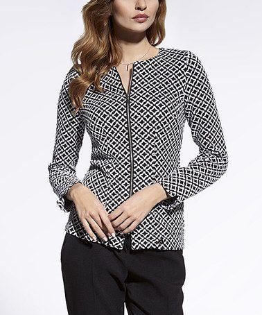 Black & White Geometric Zip-Up Jacket - Women & Plus #zulily #zulilyfinds