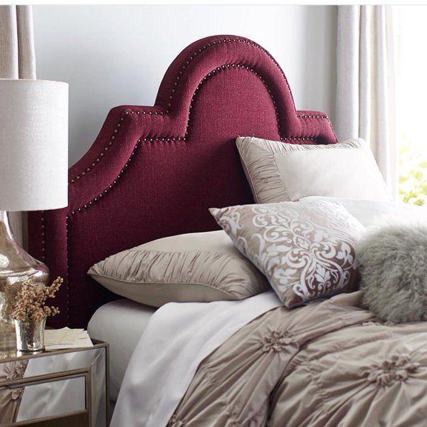 burgundy upholstered headboard | Bed, Bedroom inspirations