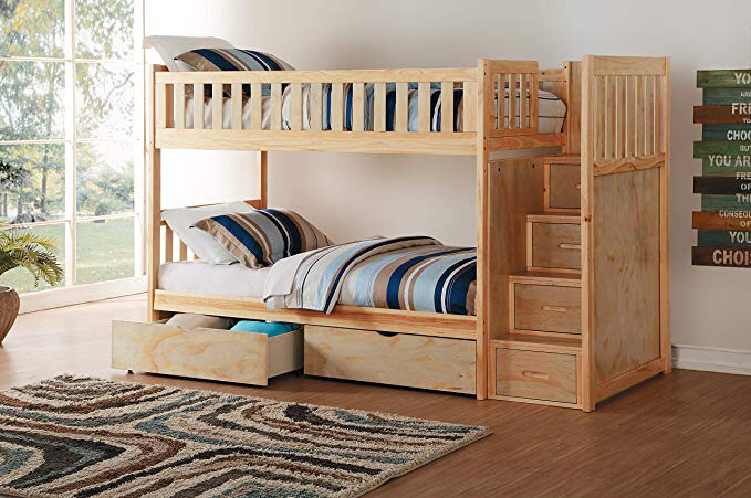 Amazonsmile Lexicon Elliot Staircase Bunk Bed With Toy Boxes Twin Twin Natural Kitchen Dining Bunk Beds With Stairs Bunk Bed Steps Bunk Bed With Trundle