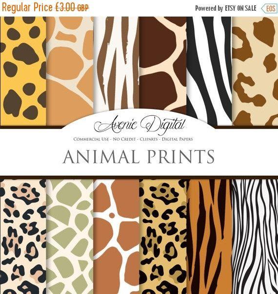 Animal Prints Digital Paper Scrapbook Backgrounds Wild Animal Skin