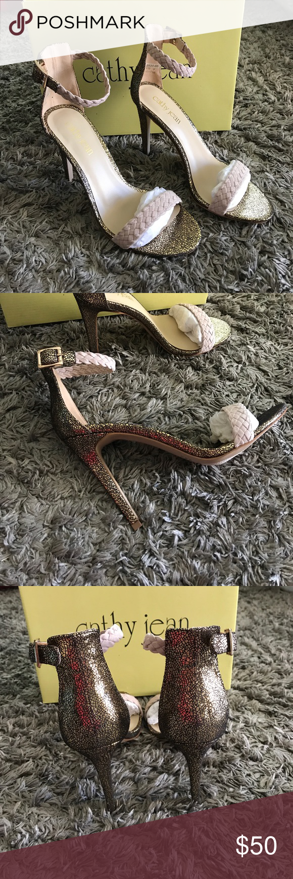 Cathy jean heels Brand new only tried on one .. size 9 .. nude suede and gold metallic.. this shoe is stunning !! Cathy Jean Shoes Heels