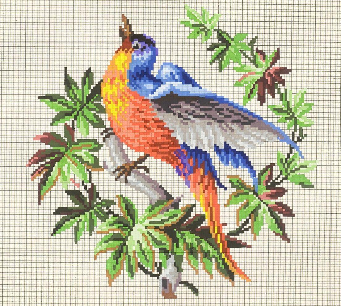 Prelepa stara šema.   GOBLEN   Pinterest   Pájaro, Punto de cruz y ...