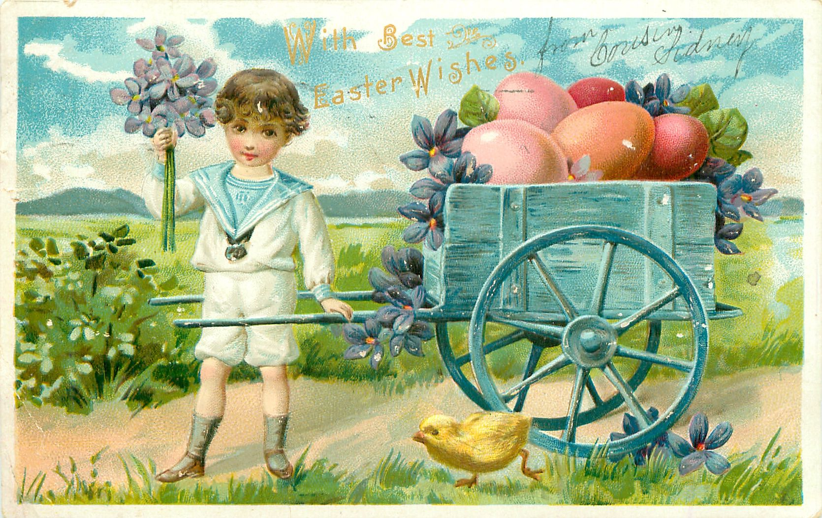 Old Easter Post Card — Wish Best Easter Wishes, 1907 (1670