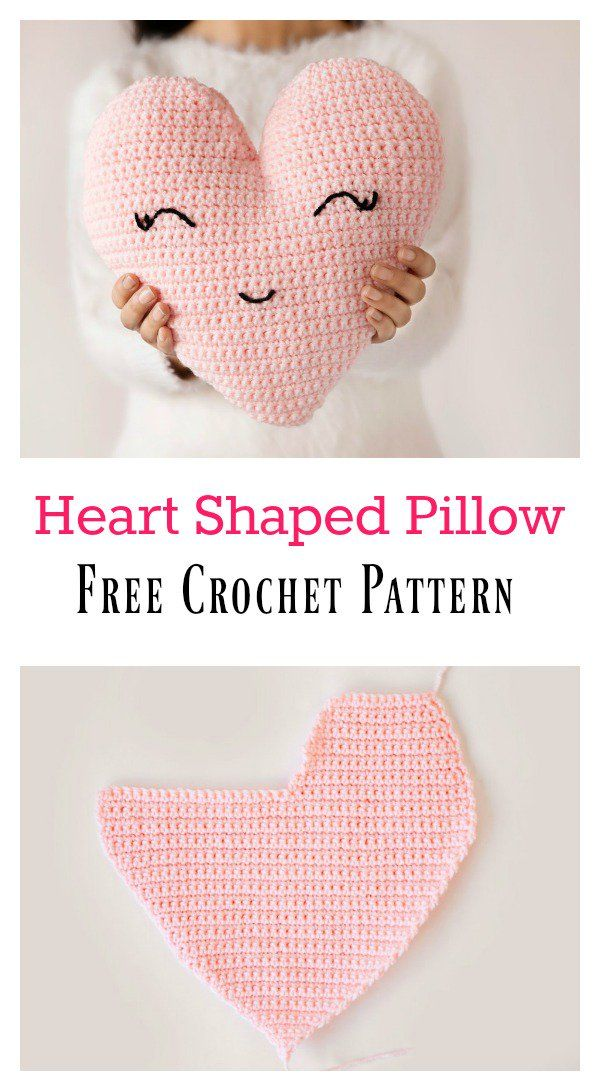Heart Shaped Pillow Free Crochet Pattern Crochet Pinterest