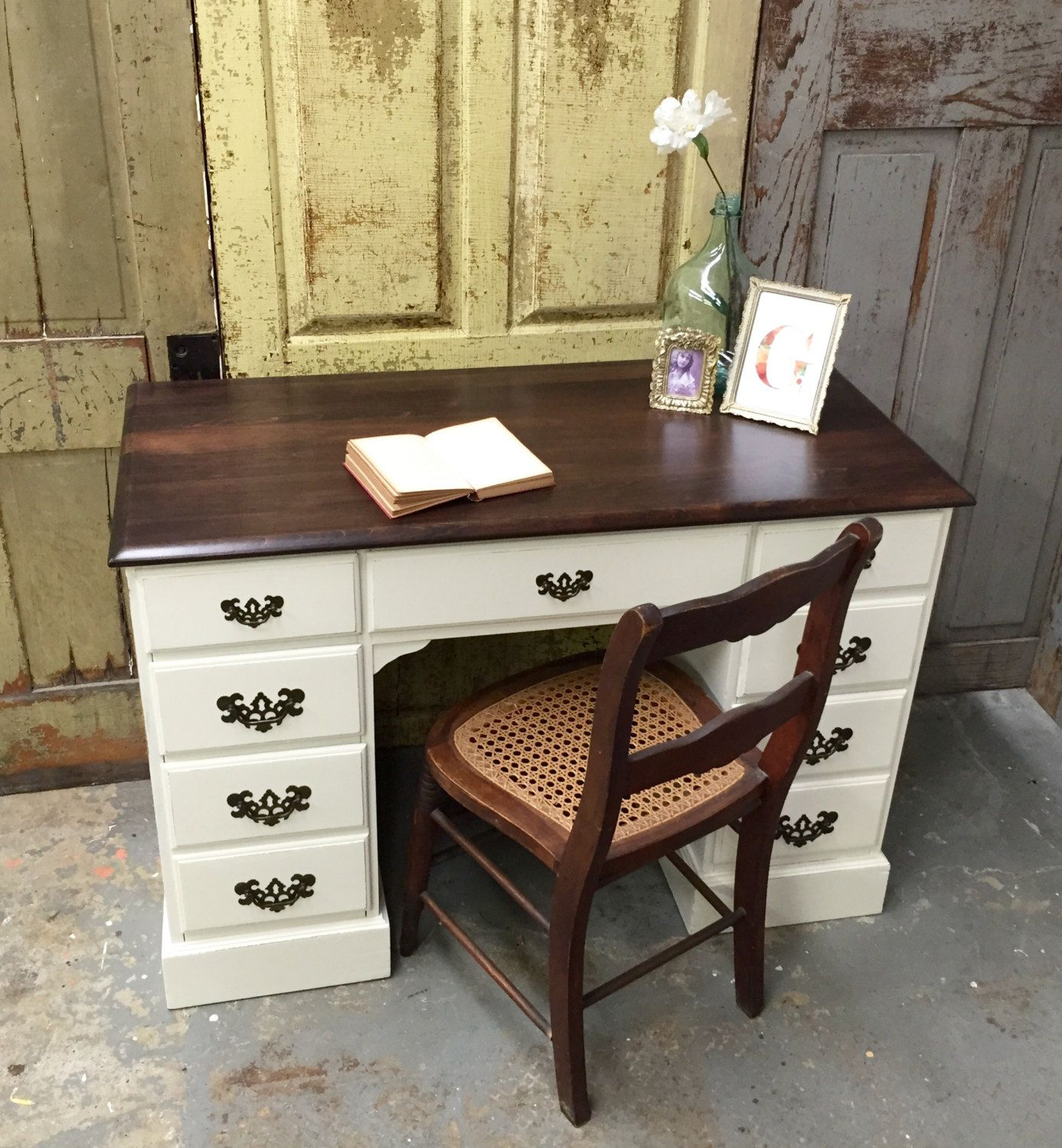 Vintage Writing Desk White Wooden Desk Painted Furniture Distressed Furniture White Wooden Desk Vintage Writing Desk Wooden Desk