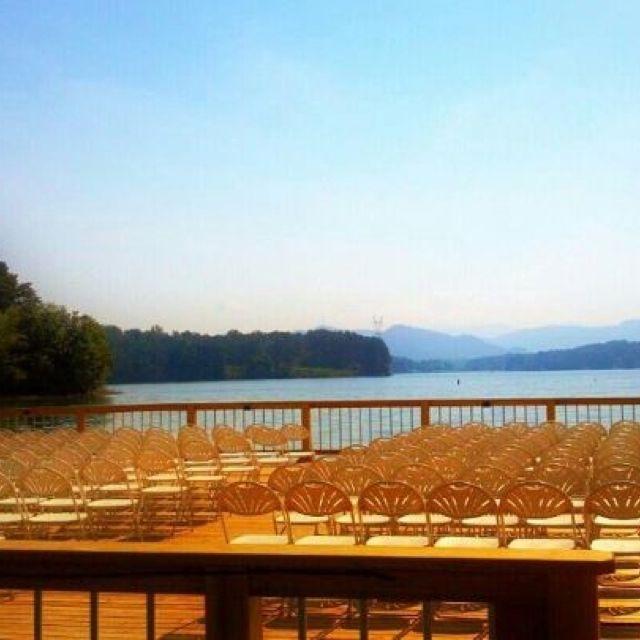 Wedding ceremony on the water  Ridges Resort & Marina #lakeweddings