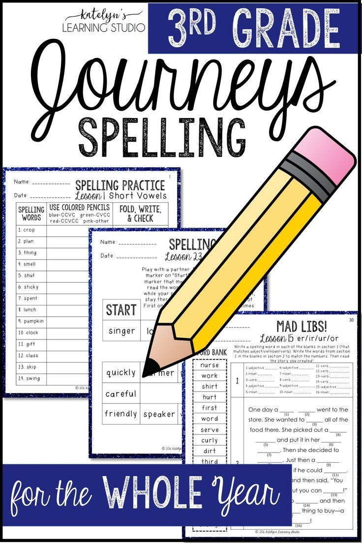 3rd Grade Journeys Spelling Activities Grade spelling