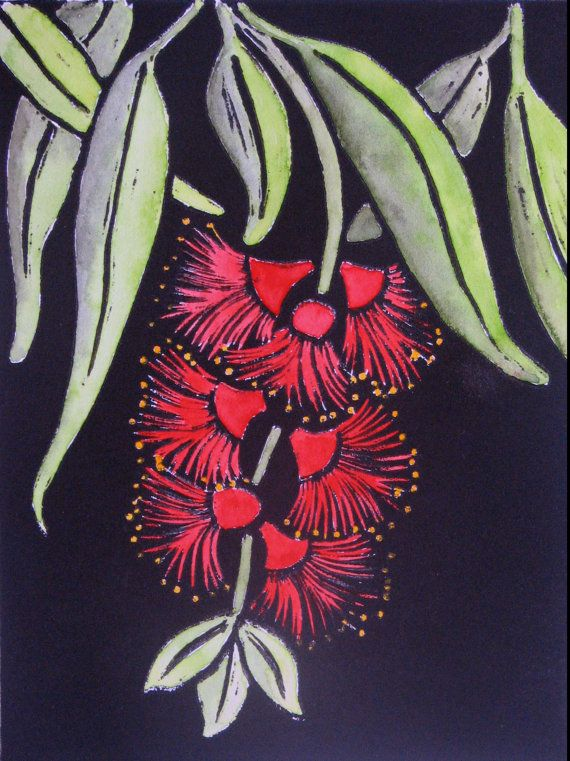 Linocut Print Limited Edition Hand Coloured Callistemon
