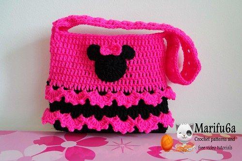 Crochet minnie mouse bag purse pattern pdf 92 | Pinzas, El cabello y ...