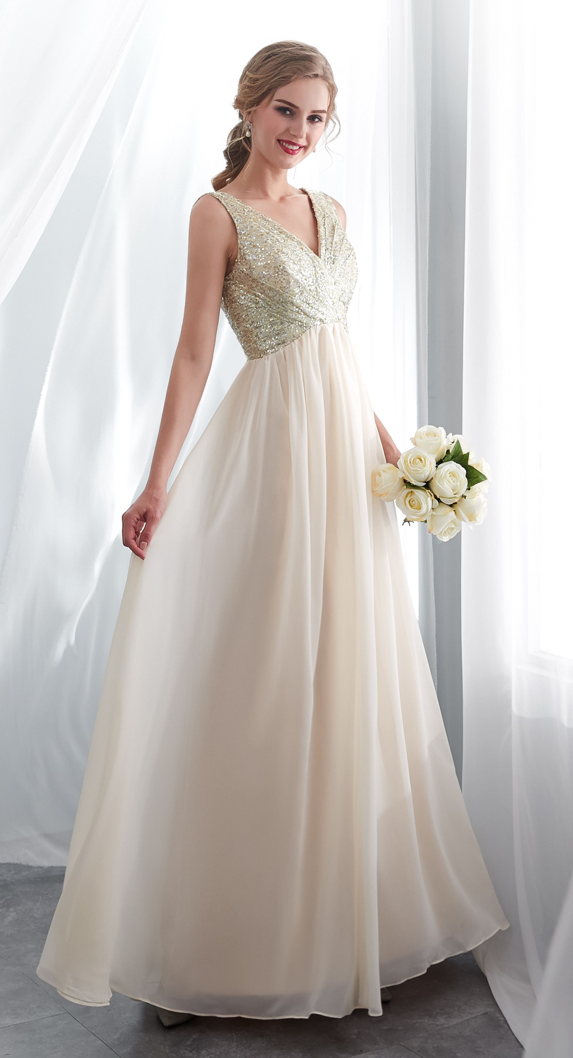 Elegant champagne chiffon backless long prom dress with seqiuins