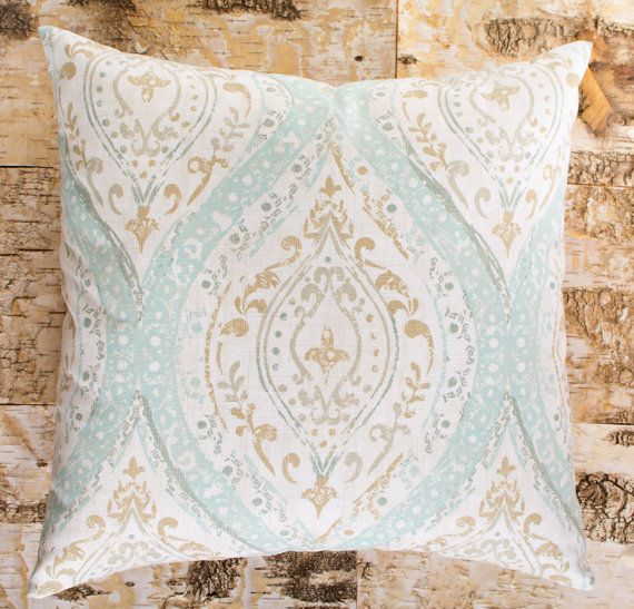 Seafoam Green Pillow Brown And Cream Accent Pillow Sofa Etsy