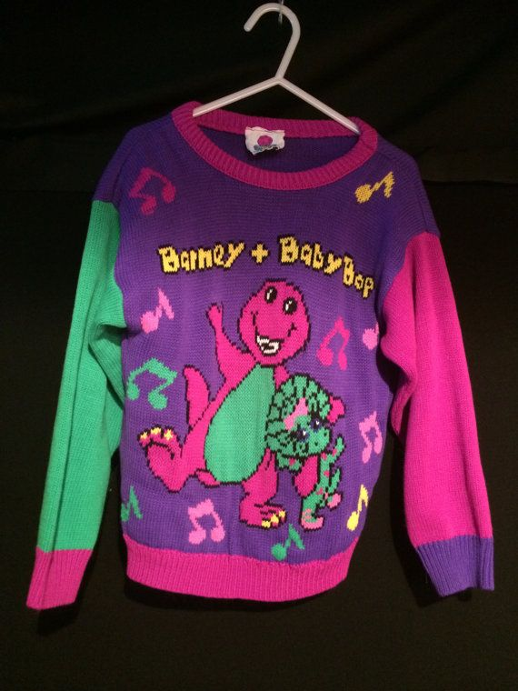 c9b4ef5019 Vintage Barney the purple dinosaur BABY BOP music notes Cartoon kids ...