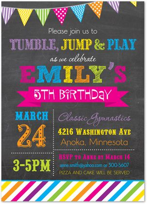 gymnastics invitations tumble jump flip birthday party invitations