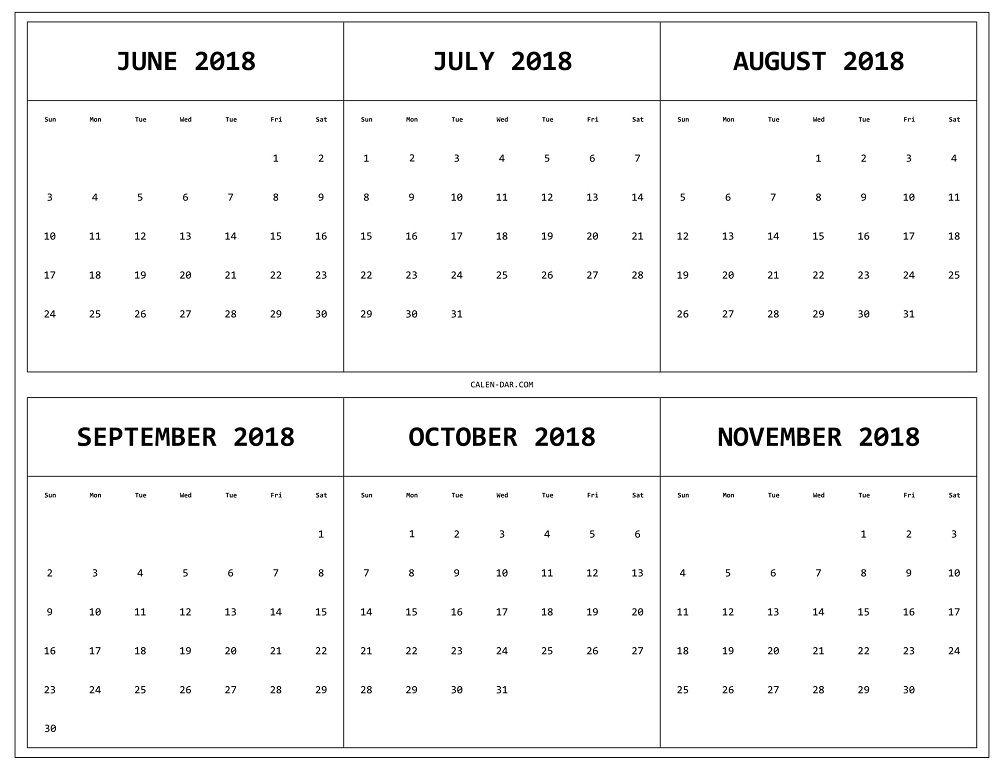 Calendar June July August September October November 2018 2018