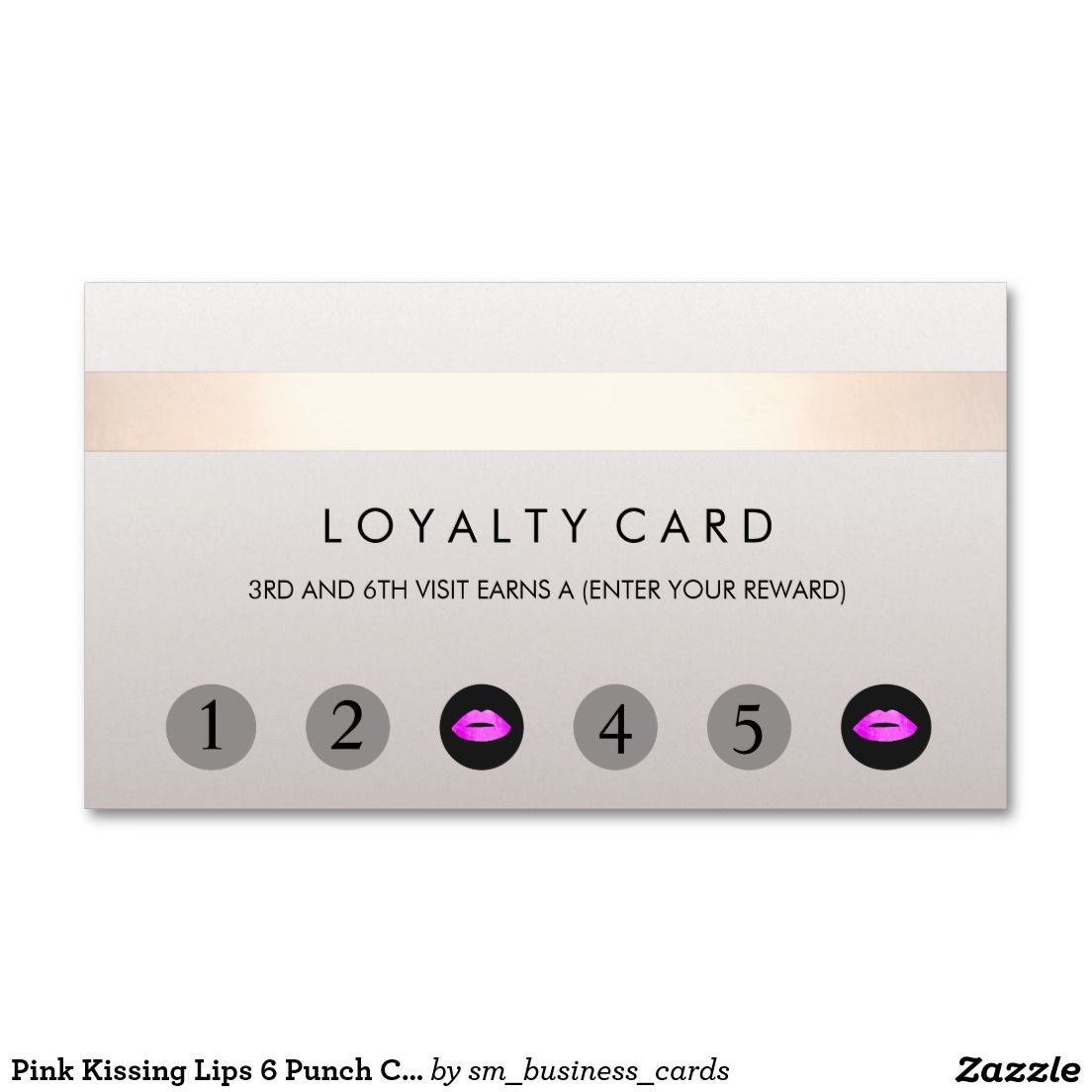 Pink Kissing Lips 18 Punch Customer Loyalty Card  Zazzle.com in