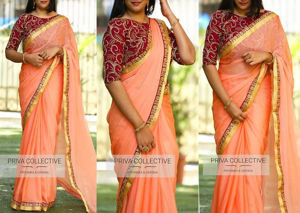 b79552abe337a 16 Awesome Ways To Wear Plain Sarees With Heavy Blouse