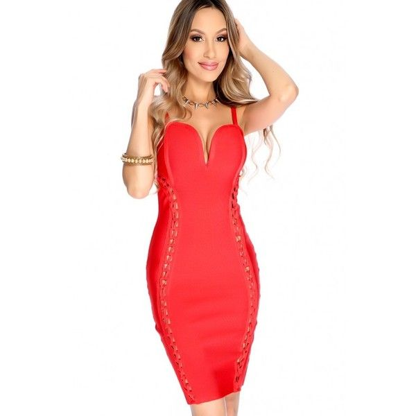 Sexy Red Sleeveless Bodycon Party Dress ($50) ❤ liked on Polyvore featuring dresses, bodycon cocktail dress, sexy dresses, sleeveless dress, red bodycon dress and red cocktail dress