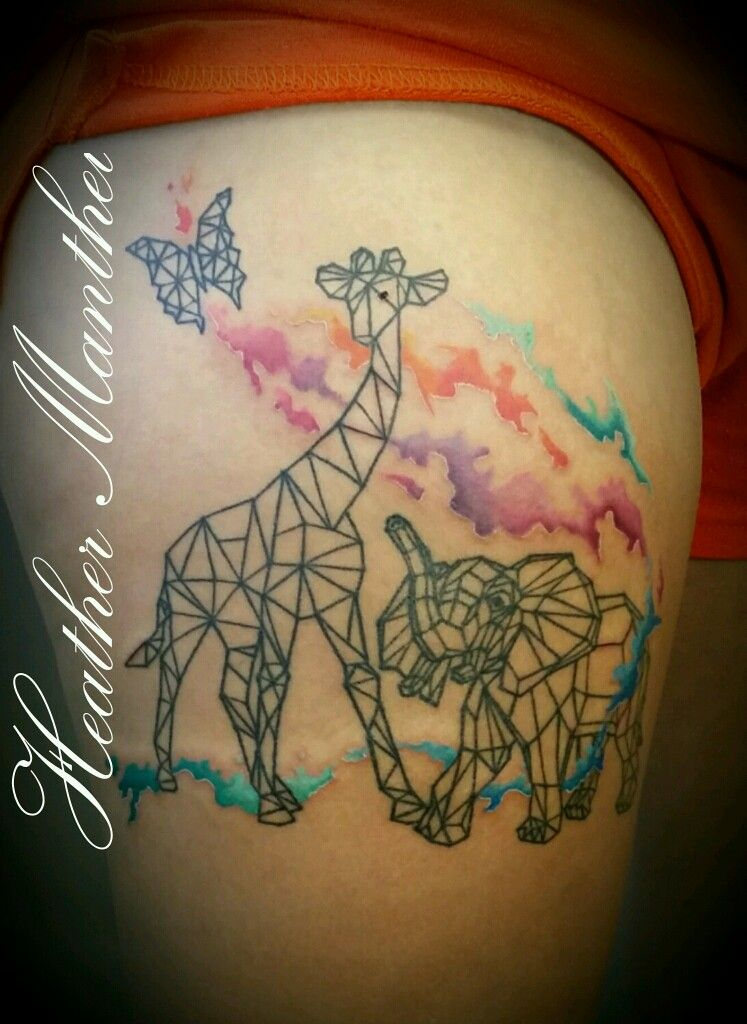Geometric Giraffe And Elephant Watercolor Splash Tattoo Thank You