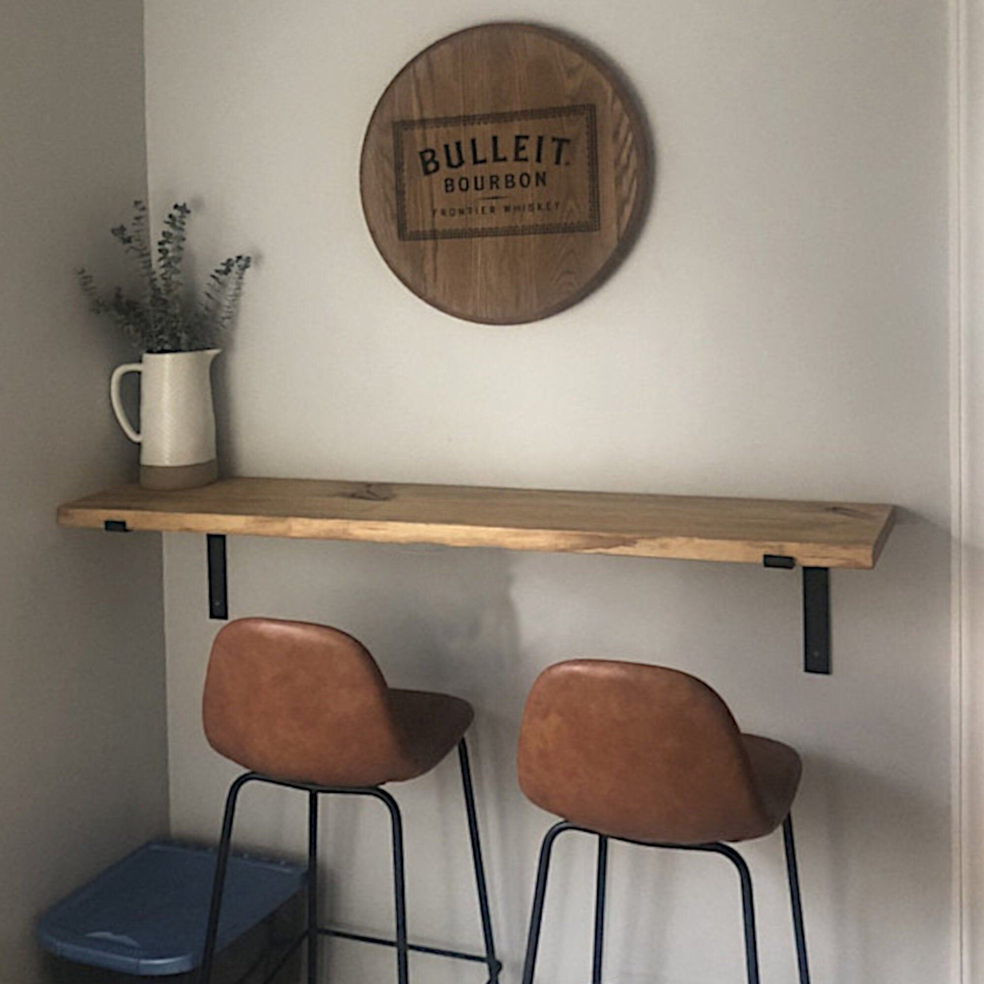 Modern Floating Loft Bar Table 11 25 L Bracket Golden Etsy In 2020 Nook Table Rustic Table Wall Mounted Table