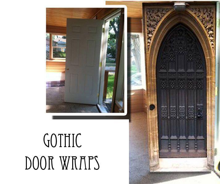 Gothic door wrap castle door man cave idea see more - Garage door vinyl wrap ...
